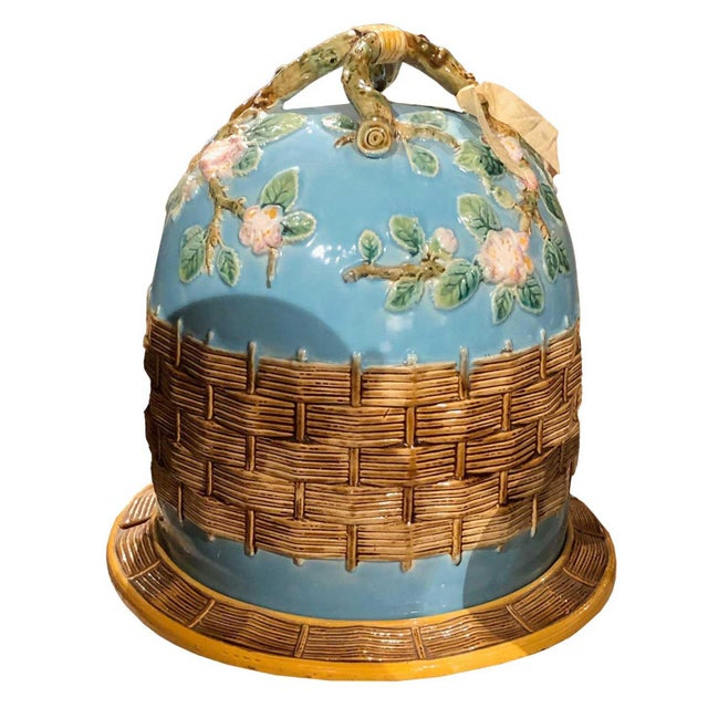 English George Jones Majolica Apple Blossom Cheese Dome For Sale - Image 3 of 3
