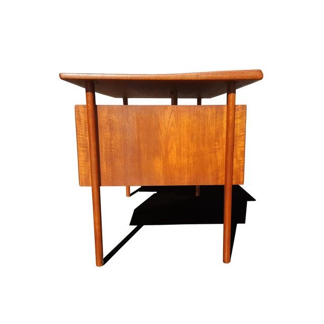 Teak Danish Mid-Century Modern President Desk by Peter Lovig Nielsen For Sale - Image 7 of 10