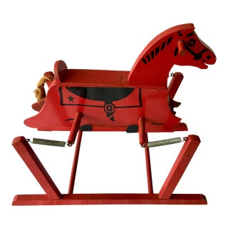 Vintage Child Red Wood Horse & Springs For Sale
