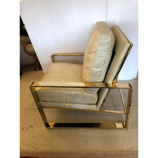 1980s Metallic Faux Crocodile and Brass Club Chair For Sale - Image 5 of 13