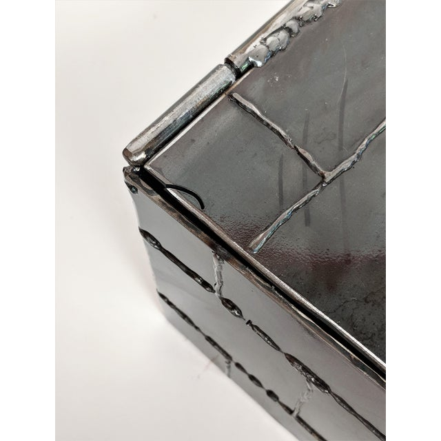 Brown Brutalist Metal Box Hand Welded Box For Sale - Image 8 of 12