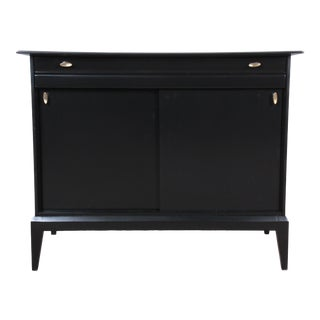 Paul McCobb Style Ebonized Mid-Century Modern Compact Credenza by Heywood Wakefield For Sale
