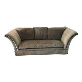 Khaki Marge Carson Velvet Sofa For Sale