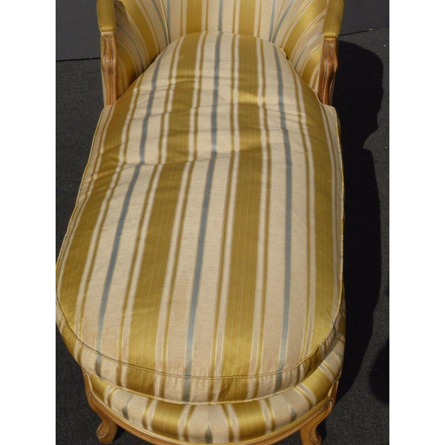 Silk Vintage Baker French Provincial Gold Chaise Lounge Goose Down Cushion For Sale - Image 7 of 11