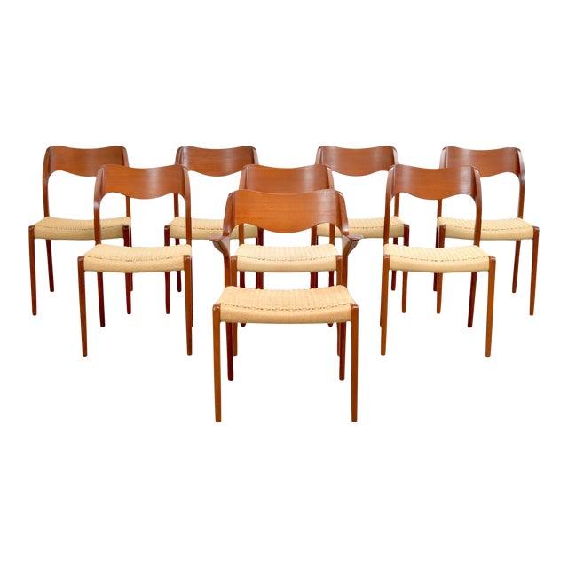 j.l. Møller Model 71/55 Teak & Danish Cord Dining Chairs - Set of 8 For Sale