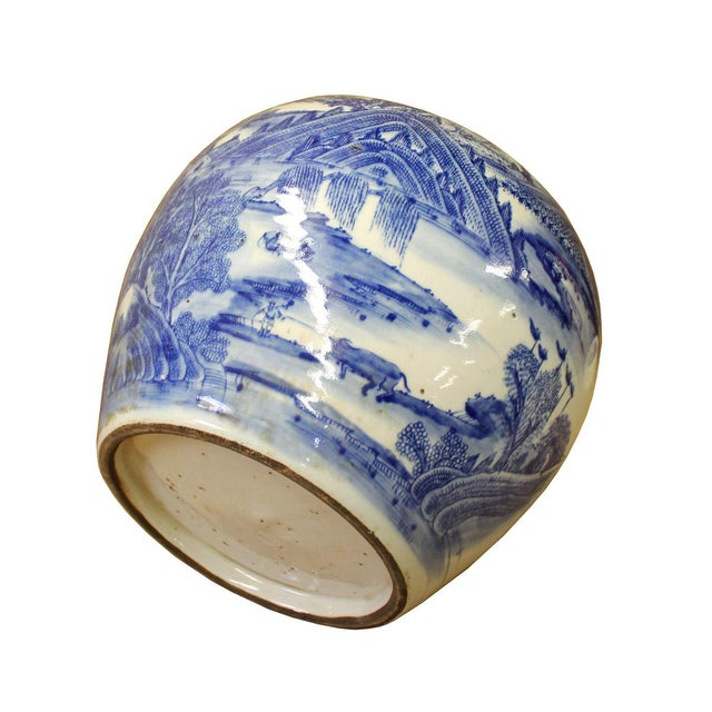 Chinese Blue White Scenery Porcelain Pot Vase For Sale In San Francisco - Image 6 of 6