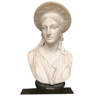 Early 20th Century Carved Roman Marble Bust of Ceres by Clerici For Sale