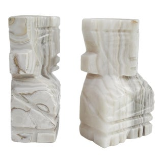 Aztec Motif Marble Bookends For Sale