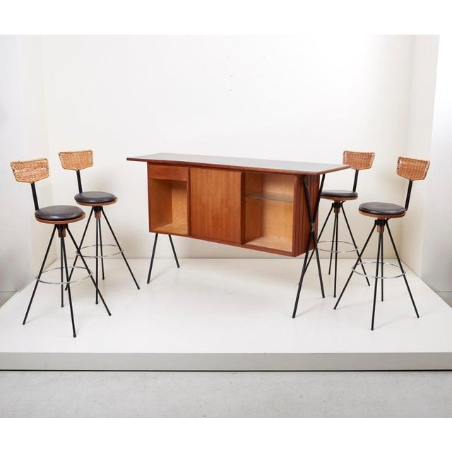 1950s House Bar and Four Bar Stools by Prof. Herta-Maria Witzemann for Erwin Behr For Sale - Image 5 of 13