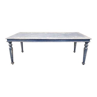 Vintage Blue French Shabby Chic Turned Legs Distressed Farmhouse Dining Table For Sale