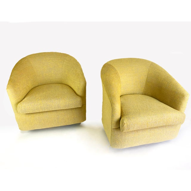 Carsons 1980s Newly Reupholstered Champagne Gold Swivel Lounge Chairs For Sale - Image 4 of 9
