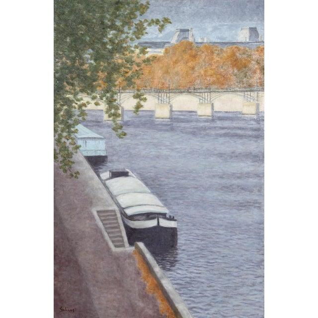 Laurent Marcel Salinas, Peniche a Aquai Devant Le Pont Des Arts, Oil on Canvas For Sale