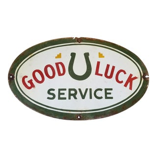 Antique Enamel Good Luck Sign For Sale