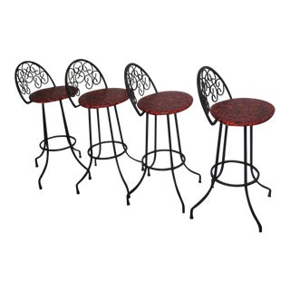 Arthur Umanoff Mid-Century Iron Bar Stools - Set of 4 For Sale
