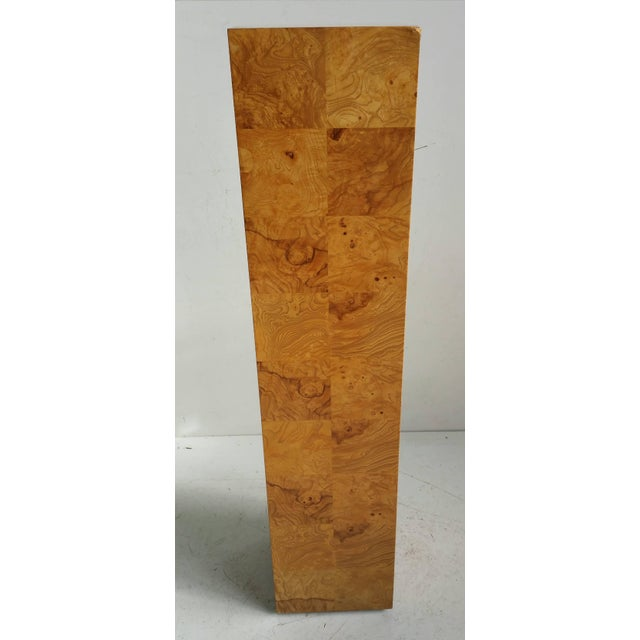 Mid-Century Modern Modernist Burl Walnut Patchwork Pedestal by Milo Baughman For Sale - Image 3 of 6