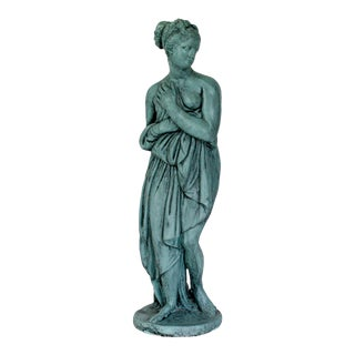 Vintage Female Cast Garden Statue For Sale