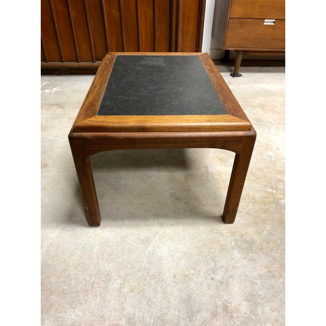 Mid 20th Century Mid Century Modern Walnut and Black Formica Side Table For Sale - Image 5 of 6