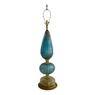 Italian Teal Venetian Murano Glass Lamp