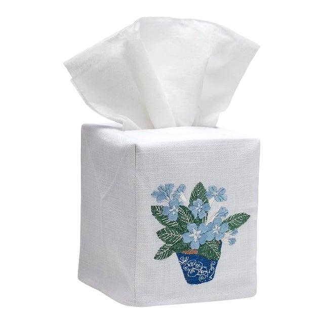 Blue Cache Pot Tissue Box Cover - White Linen / Cotton, Embroidered For Sale