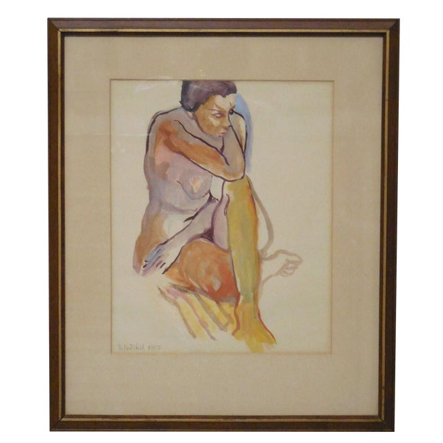 1965 Vintage Nude Watercolor on Paper Painting - Image 1 of 7