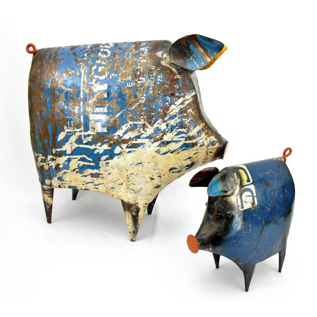 Country Recycled Metal Pig Sculptures - A Pair For Sale - Image 3 of 8