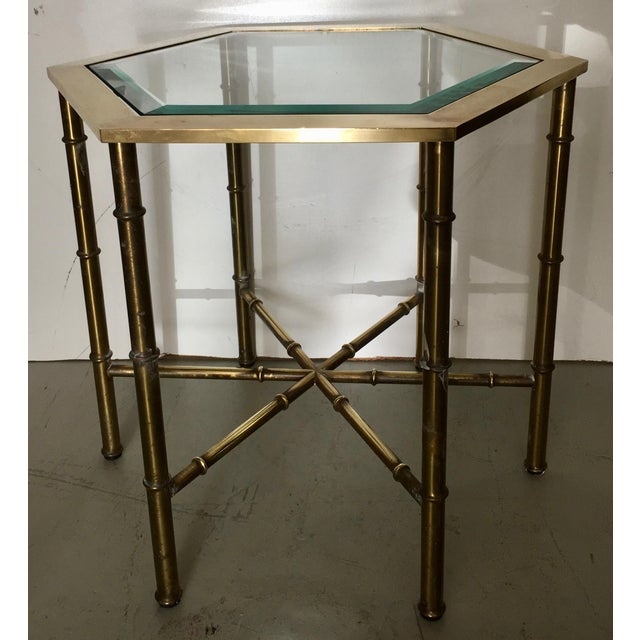 Mastercraft Brass Faux Bamboo Hexagonal Accent Table - Image 2 of 5