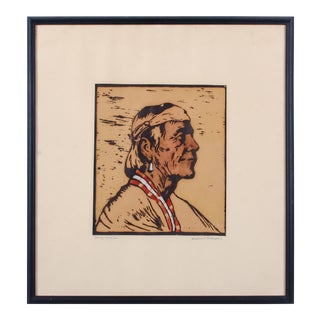 1940s Navajo Style Woodblock Portrait by Winifred G. Thompson
