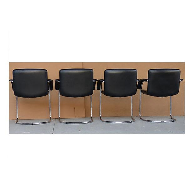Leather Arm Chairs by Saporiti Italia - Set of 4 - Image 5 of 10