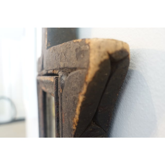 African Primitive Wood Mirror For Sale - Image 3 of 13