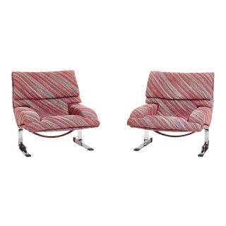 Saporiti Onda Lounge Chairs Missoni Fabric Circa 1970's For Sale
