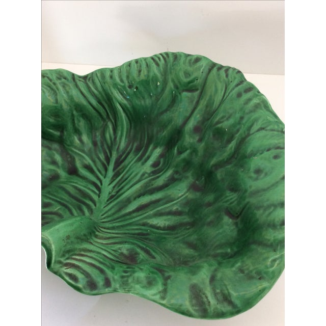 Cottage Vintage Portugese Green Lettuce Bowl For Sale - Image 3 of 9