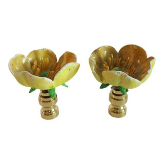 Bold Yellow Poppy Flower Finials, Pair by C. Damien Fox For Sale