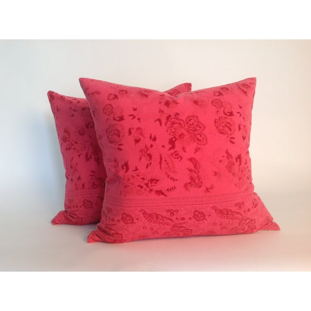Pair of Indian Vintage Block Printed Kantha Pillows with natural linen back. Inserts included.