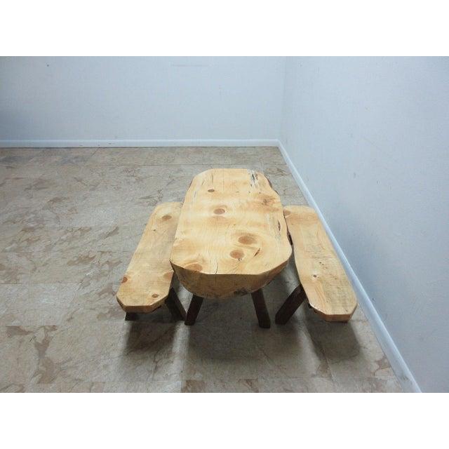 Childs Adirondack Cabin Free Form Slab Wood Live Edge Dining Set - Set of 3 For Sale - Image 10 of 11