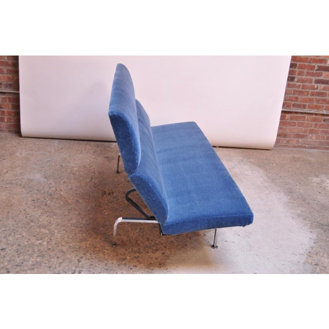 1950s Charles and Ray Eames for Herman Miller Chromed-Steel and Mohair Compact Sofa For Sale - Image 5 of 13