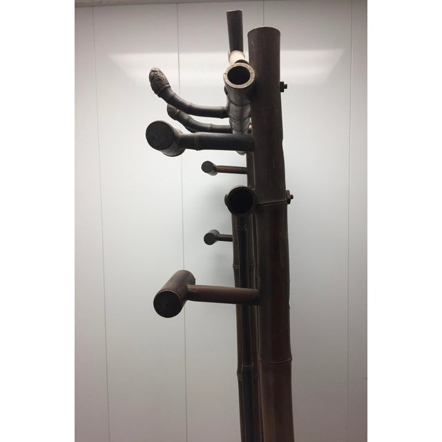 Faux Bamboo Late 19th Century Antique French Faux Bamboo Mirrored Coat Rack For Sale - Image 7 of 9