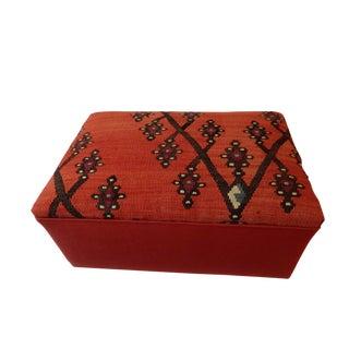 """Custom Made Tribal Kilim Rug & Mud Cloth Ottoman 23"""" W by 12"""" H For Sale"""