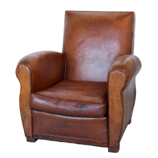 We found this vintage leather club chair in the famed Paris antique market  Clignancourt. We - Vintage Art Deco Leather Club Chairs - A Pair Chairish