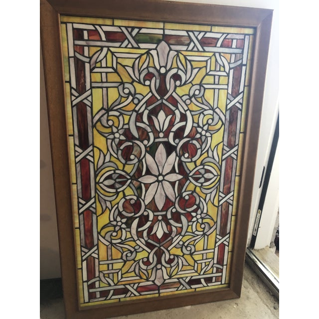 Early 21st Century Stained Glass Panels - Set of 3 For Sale - Image 5 of 6