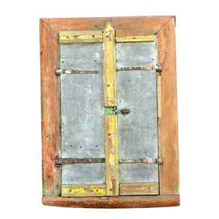 Folk Zinc Antique Window Mirror For Sale