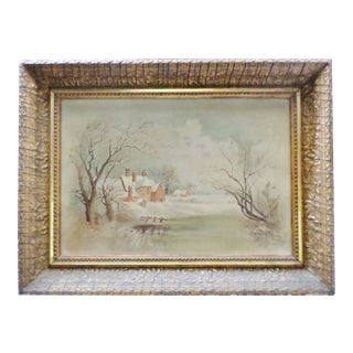 Mid 19th Century Antique Winter Snow Scene Country House Oil Painting For Sale