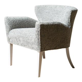Century Furniture Upholstered Faux Shearling Chair For Sale