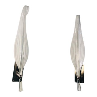 Pair of Gold Leaf Murano Glass Leaf Sconces For Sale