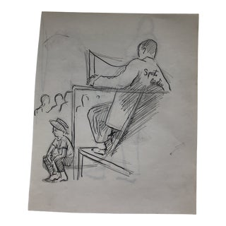 1950s Basketball Broadcaster Drawing For Sale
