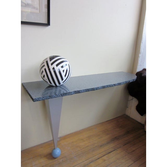 Vintage Postmodern Custom Made Memphis Design One-Legged Console Table For Sale - Image 10 of 13