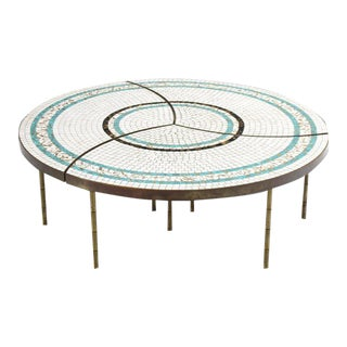 Contemporary Three-Part Bronze and Mosaic Round Coffee Table - 3 Pieces For Sale