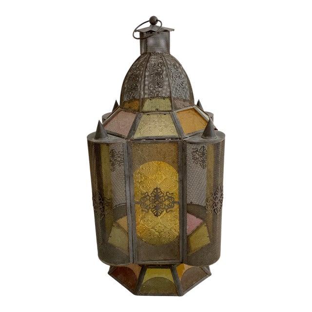 Vintage Moroccan Lantern Candle Holder For Sale