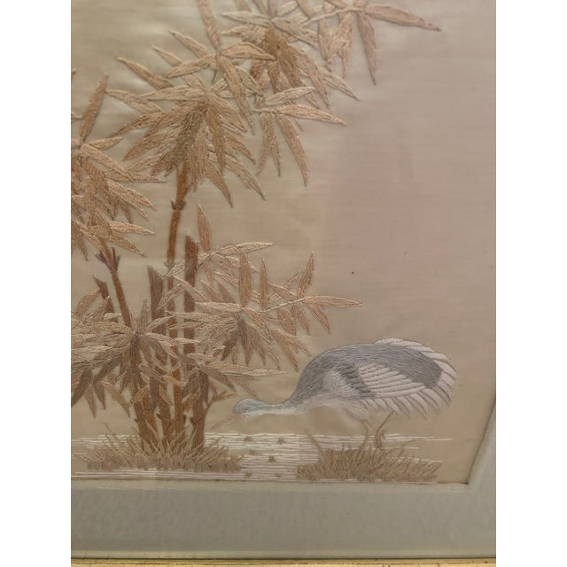 1920s Antique Framed Fine Needlework of Herons -A Pair For Sale - Image 5 of 11