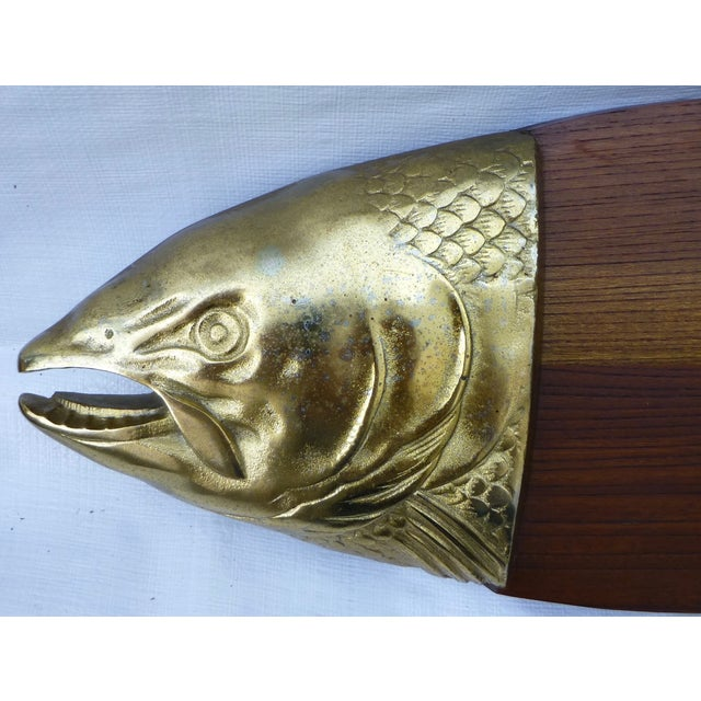 Mid-Century Modern Teak Modernist Fish Plaque For Sale - Image 3 of 9