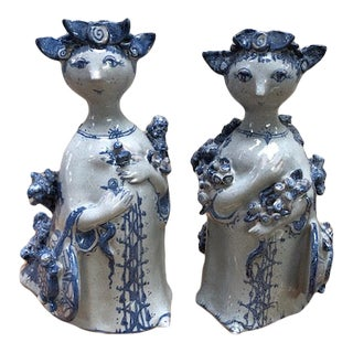 Bjorn Wiinblad Mid-Century Signed Blue and White Female Figurines - a Pair For Sale
